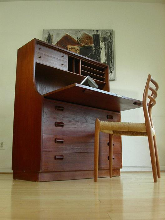 Danish Modern Teak Secretary Desk Dresser from Denmark Designed by Borge Mogensen for Soborg Mobelfabrik by RetroSquad
