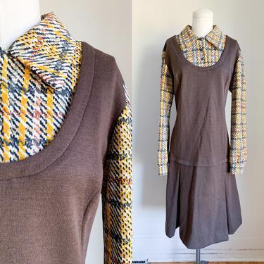 Vintage 1960-70s Faux 2pc Brown Wool Dress / L by MsTips