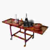 Expanding Teak Bar Cart with Sliding – Adjustable Trays by Poul Hundevad