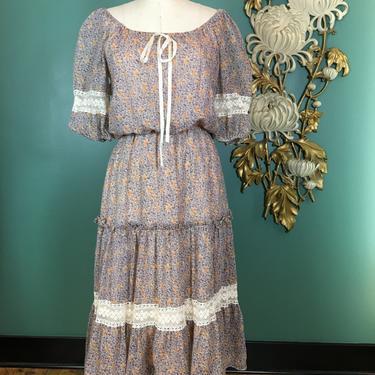 1970s prairie dress, vintage 70s dress, off the shoulders, sheer floral dress, small medium, bohemian dress, blouson style, puff sleeves by BlackLabelVintageWA