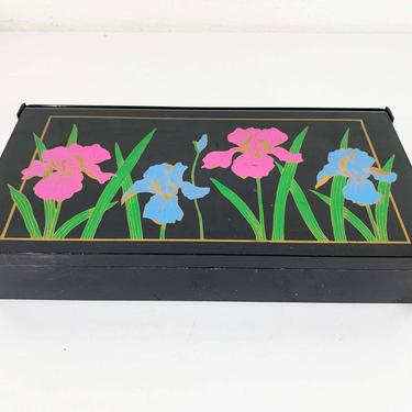 Vintage Jewelry Box Plastic Folding Mirror Earring Ring Case Irises Iris Flowers Floral Black Retro Necklace Storage Cherry Makeup Hong Kong by CheckEngineVintage