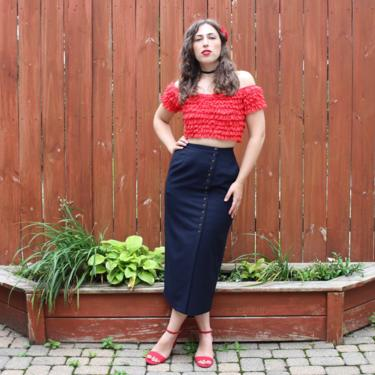 Vintage 1990s Harve Benard Wool Pencil Skirt - Navy Blue High Waist Sexy Button Front Skirt - XS/S by SecondShiftVintage