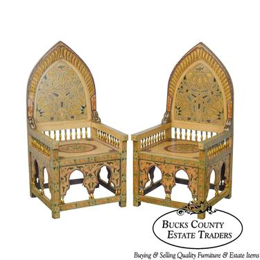 Unusual Pair of Middle Eastern Decorated Hall Chairs by BucksEstateTraders