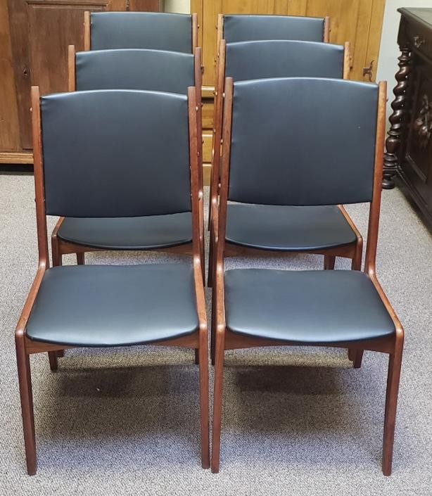 Item #T31 Set of Six Vintage Teak Dining Chairs w/ Black Vinyl Upholstery c.1960s
