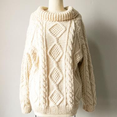 1970s Wool Fisherman Sweater Hand Knit M by dejavintageboutique