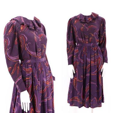 70s ALBERT NIPON silk print peasant outfit 10 / 1970s vintage blouse & skirt set dress sz M_L 80s by ritualvintage
