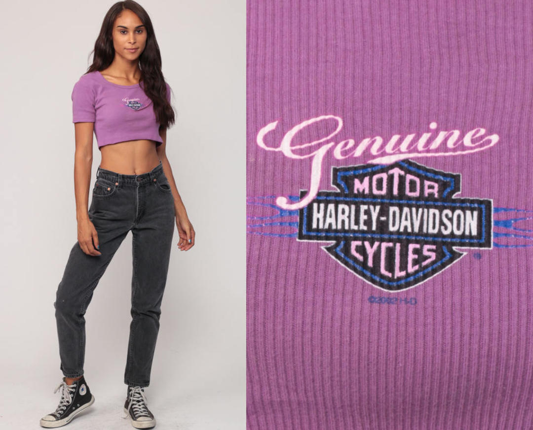ff57a8c671e Harley Crop Top Harley Davidson Shirt Girly Biker Tee Motorcycle T Shirt  Hipster Tshirt Purple Small Medium by ShopExile from Shop Exile of Los  Angeles, ...