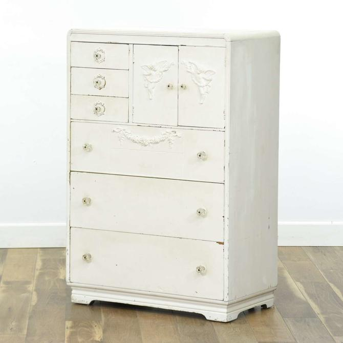 White French Provincial Tall Dresser W Putti Detail