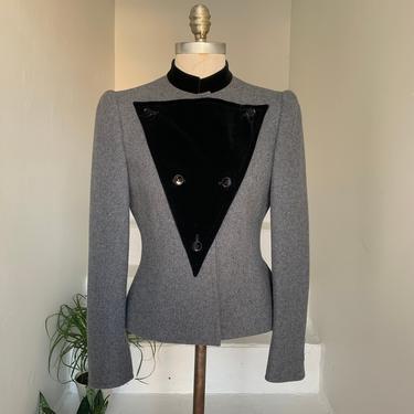 Avant-Garde Fall New Wave 1980s Givenchy Boutique Wool Jacket with Detachable Velvet 34 Bust Vintage by AmalgamatedShop