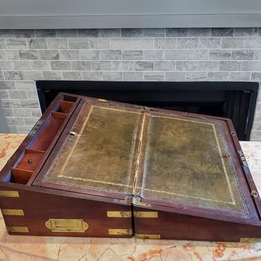 18th/19th Century English Regency Georgian Period Brass Bound Mahogany Campaign Writing Box Lap Desk by LynxHollowAntiques