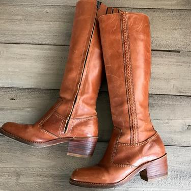 Sienna Brown Leather Riding Boots, Knee High, Zip Ups, Bort Carleton, Size 7 US by JansVintageStuff