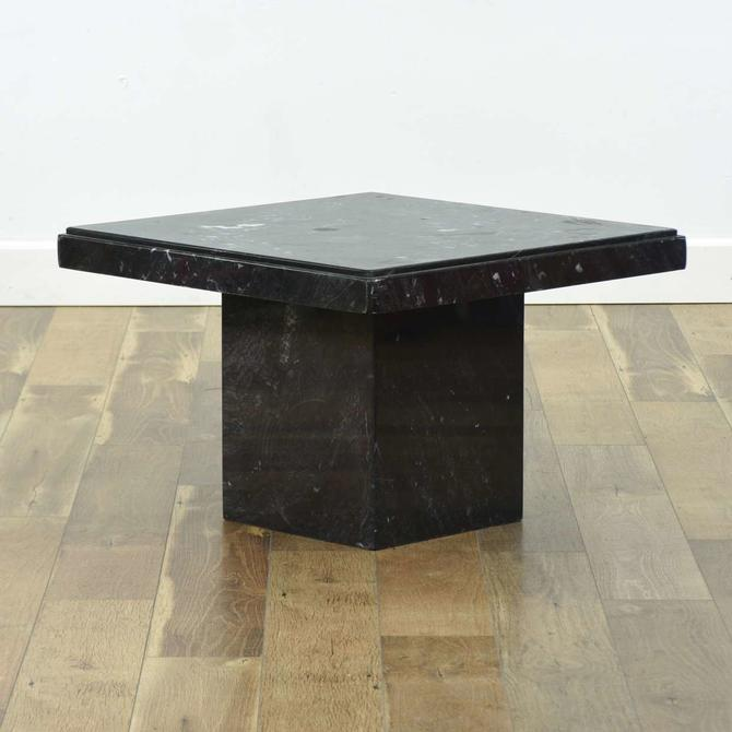 Modernist Black Marble End Table