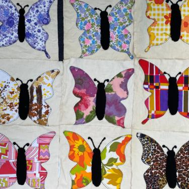 Vintage 70's Butterfly Quilt Squares, Appliqued Butterflies With Black Felted Body, Quilting Blocks, Lot Of 24, Partially Constructed by luckduck