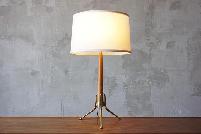 Gerald Thurston Brass & Walnut Lamp by FandFVintage