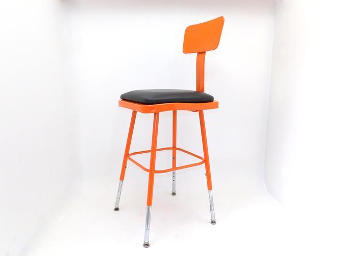 Mid Century Modern Orange Industrial Drafting Stool Chair Adjustable Height Chrome Legs New Upholstery Aviation Decor Office Barstool by MakingMidCenturyMod