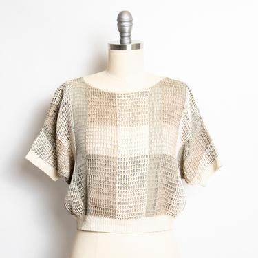 Vintage 1980s Crochet Blouse Semi Sheer Cropped Top 70s M by dejavintageboutique