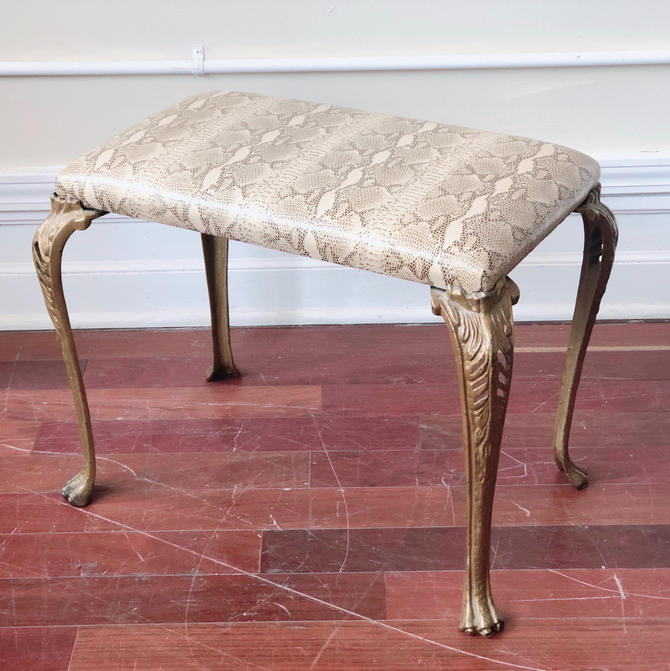 Faux Python Upholstered Ottoman / Footstool by StrangelovelyVintage