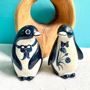 Salt and Pepper Shakers, Pottery, Hand Painted, Artisan Signed, Home Kitchen Dining by GabAboutVintage