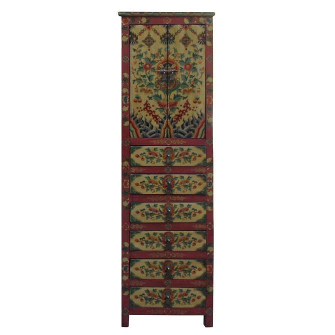Chinese Tibetan Flower Graphic Tall Slim Multi Drawers Cabinet cs3941S