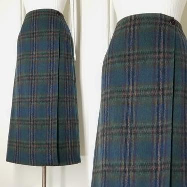 Vintage 90s Plaid Blanket Skirt ~ Fuzzy Wool Blend ~ Maxi Wrap Skirt ~ Blue & Green ~ Warm Winter Long Skirt ~ Lined ~ MED by SoughtClothier