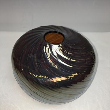 Vintage Modern Studio Art Carnival Glass Vase Iridescent Swirl Artisan Signed by HouseofVintageOnline