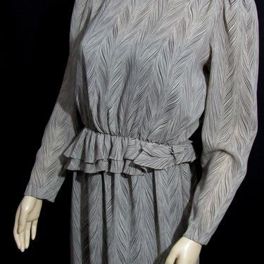 Vintage 80s Abstract Print Sheer Dress Nylon Modest Dress Day Dress Secretary Dress by GraveyardVintage