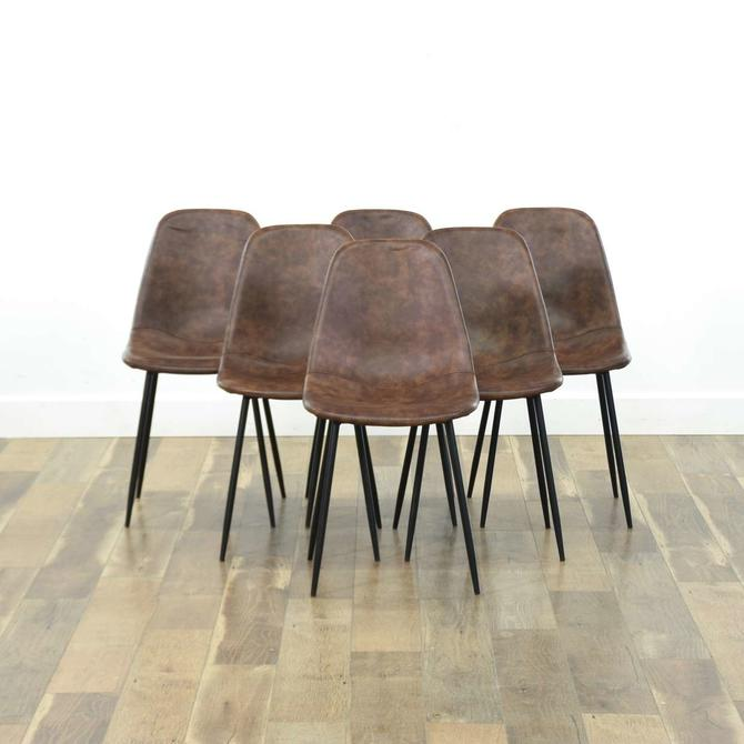 Set Of 6 Mid Century Modern Molded Style Dining Chairs