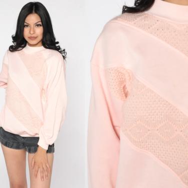 Baby Pink Sweatshirt 80s Sweatshirt Pastel Mock Neck Shirt Knit Long Sleeve Shirt Slouchy 1980s Vintage Sweat Shirt Large L by ShopExile