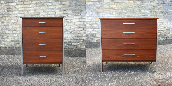 Paul Mccobb Linear For Calvin Group Chestsexceptional Walnut Chests Designed By Paul Mccobb And Made By The Calvin Group In The 1950s As Part Of The Linear Collection. We Refinished These Pieces To Reveal The Richly Figured Walnut And Give Them A Smooth Surface Feel. Original Brushed Metal Accents And Drawer Handles.small Chest