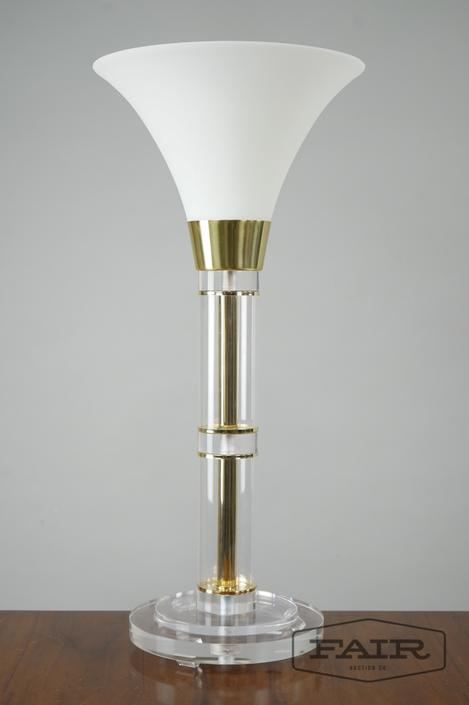 Lucite Brass and Frosted Glass Table Lamp