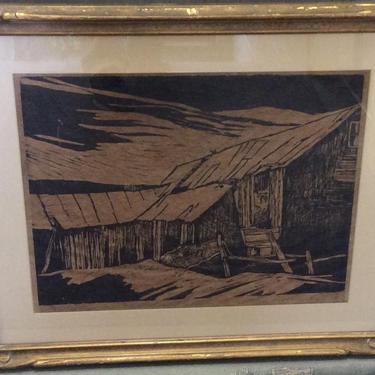 Quaker Springs Woodcut Woodblock Print John Walker ? by QuaboagValleyAntique