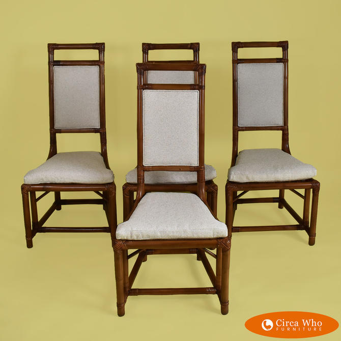 Set of 4 Rattan Dining Chairs by Henry Olko for Willow Reed