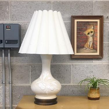 Vintage Table Lamp Retro 1960s Frederick Cooper + Mid Century Modern + Ceramic + Raised Design + Fruit and Leaves + Scalloped White Shade by RetrospectVintage215
