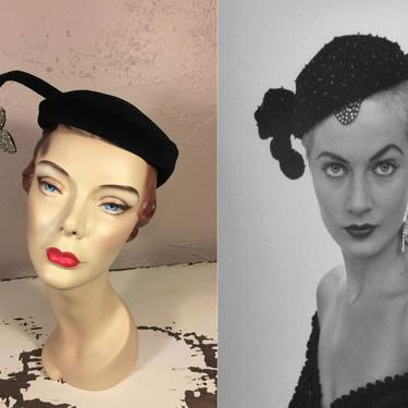 Stares That Say It All - Vintage Late 1950s Early 1960s Black Velour Caplet Hat w/Rhinestone Butterfly Side by RoadsLessTravelled2