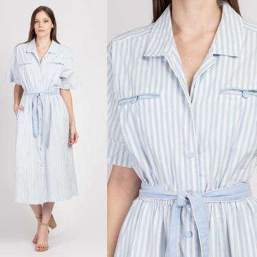 80s Blue & White Pinstriped Belted Shirtdress - Medium to Large | Vintage Short Sleeve Pocket Midi Dress by FlyingAppleVintage
