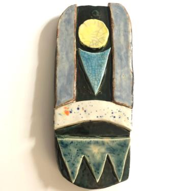 """Unique Abstract Ceramic Wall Art Plaque is hand built with crackle and multi-color glazes 3"""" W x 7"""" H by MadCoolNYC"""