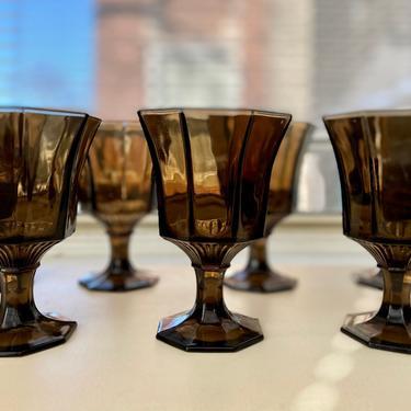 Dark Brown Octagon Goblets - Set of 7 by AntiquetoChicChicago