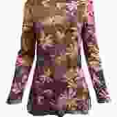 Ken Scott 70s Mauve Jersey Blouse with Bold Floral Pattern