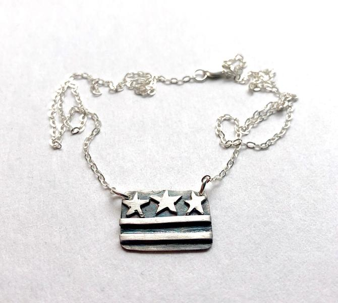 DC Flag Necklace - Small Size - Oxidized Sterling Silver DC Pride Petite Pendant by RachelPfefferDesigns