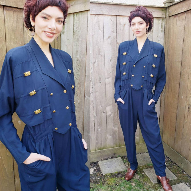 1980s Navy Blue Jumpsuit Gold Buttons Joseph Ribkoff / 80s Large Shoulders Elastic Waist Military Naval Nautical Onesie / Large by RareJuleVintage