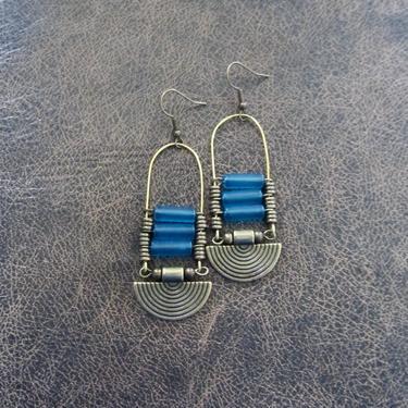 Baby blue sea glass earrings, chandelier earrings, statement earrings, bold earrings, etched bronze earrings, tribal ethnic earrings, chic by Afrocasian