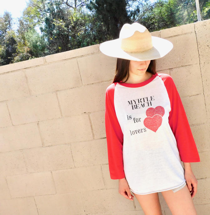 Lovers Jersey // vintage 70s boho shirt cotton tee t-shirt t dress blouse white 80s ringer // S/M by FenixVintage