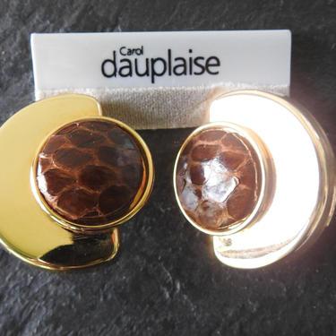 Carol Dauplaise NWT Gold Tone Leather Clip-on Earrings by LegendaryBeast