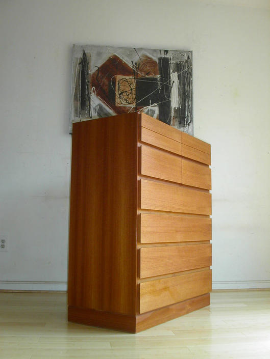 Tall Danish Modern Teak Dresser bedroom credenza By Arne Wahl Iversen for Vinde Mobelfabrik by RetroSquad