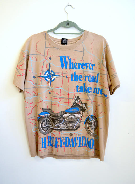Vintage Harley Davidson Motorcycle T Shirt/ Full Bleed Road Map/ Road Dog  Biker T Shirt/Docs Cycles Large by bottleofbread