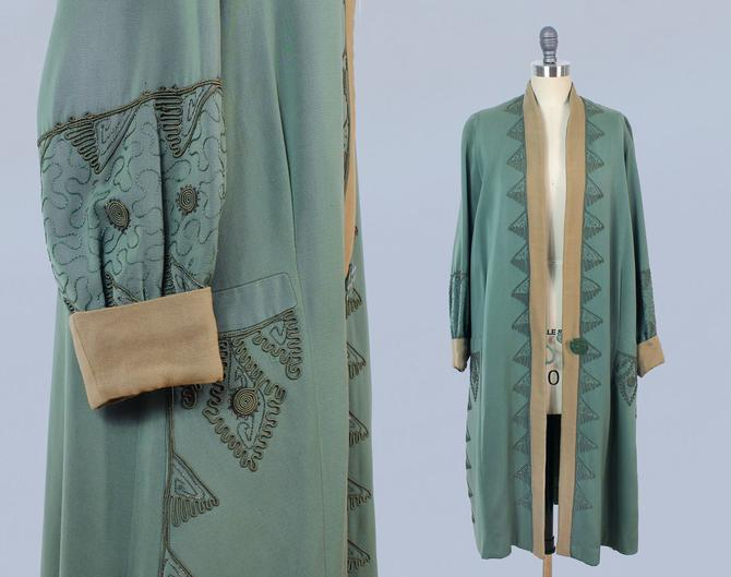 1920s Coat / 20s Sage Green and Tan Jacket / Soutache Details by GuermantesVintage