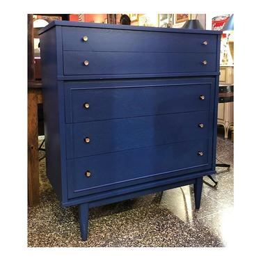 Blue MidCentury Modern Chest of Drawers //