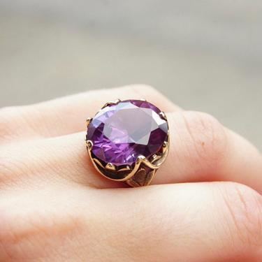 Vintage 10K Gold Alexandrite Cocktail Ring, Color Changing Gemstone, Ornate Gold Setting, Large Faceted Alexandrite Stone, Size 7 1/2 US by shopGoodsVintage