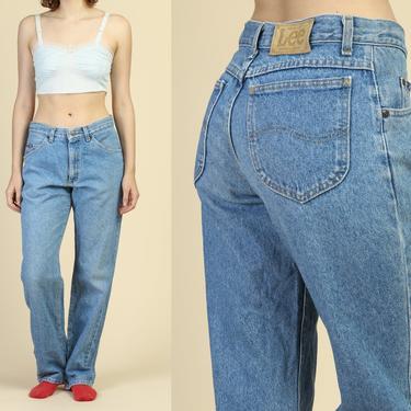 Vintage Lee Mom Jeans - Medium | 90s High Waisted Grunge Denim Straight Legged Pants by FlyingAppleVintage
