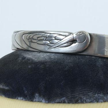 rare vintage 1980s Laurel Burch cuff • silver tone nile bird bracelet in pewter by LivingThreadsVintage